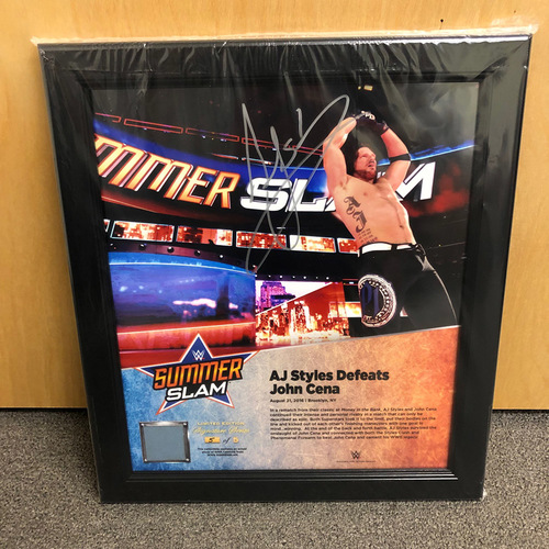 Photo of AJ Styles SIGNED SummerSlam 2016 Signature Series Ring Canvas Plaque (#5 of 5)