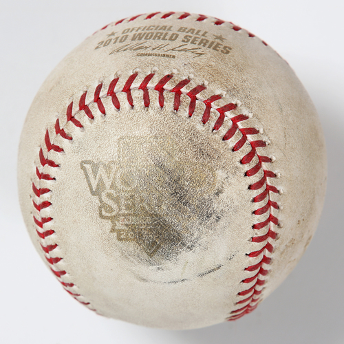 Photo of Game-Used Baseball: 2010 World Series Game 4 - San Francisco Giants at Texas Rangers - Batter: Vladimir Guerrero, Pitcher: Madison Bumgarner - Bottom of 7, Foul Ball