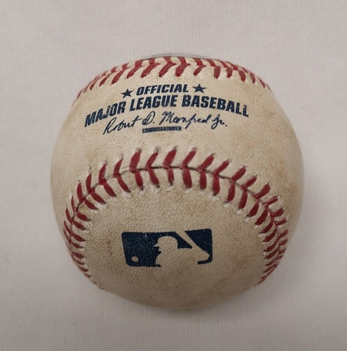 Photo of Authenticated Player Collected Baseball - Home Run (4) by Ryan Goins against Jesse Chavez (August 13, 2015; Bottom 2).