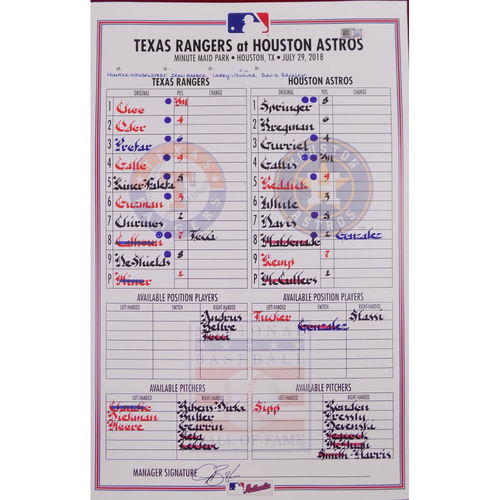 Rangers at Astros - 7/29/18 - Game-Used Lineup Card