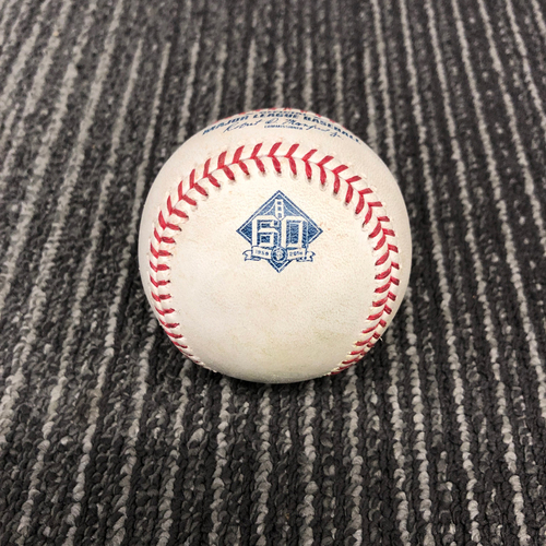 Photo of 2018 Game Used Baseball vs. Los Angeles Dodgers on 9/29 - T-9: Will Smith to Chris Taylor - RBI Single to LF (Kike Hernandez Scores) Also Matt Kemp Singles to LF