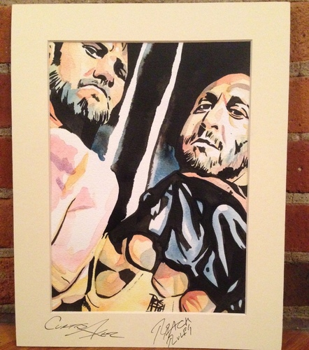 Ryback & Curtis Axel Signed Painting by Rob Schamberger