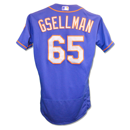 Photo of Robert Gsellman #65 - Game Used Blue Alt. Road Jersey - Mets vs. Phillies - 9/19/18