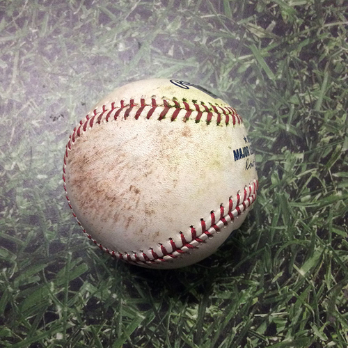 Photo of Game-Used Baseball WSH@MIL 05/07/19 - Adrian Houser - Stephen Strasburg: Single