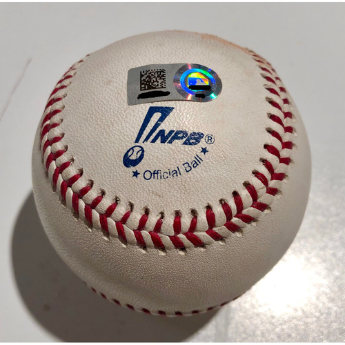 Photo of 2019 Japan Opening Day Series - Exhibition Game (Oakland Athletics at Nippon Ham Fighters - 3/17/19) - Game Used Baseball - Batter: Chad Pinder, Pitcher : Chihiro Kaneko - Swinging Strike