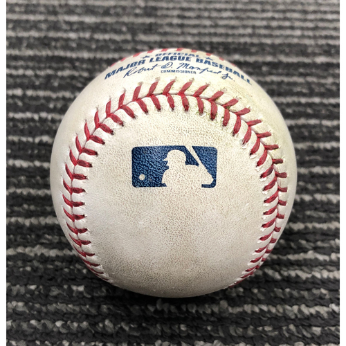 Photo of 2019 Game Used Baseball used 4/28 vs. NYY - T-2: Dereck Rodriguez to Gio Urshela - Single to CF. Also Tyler Wade Walks