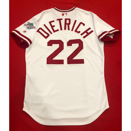 Photo of Derek Dietrich -- Team Issued 1990 Throwback Jersey -- Cardinals vs. Reds on Aug. 18, 2019 -- Jersey Size 44