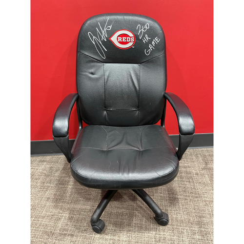 Photo of Joey Votto *Game-Used, Autographed & Inscribed* Locker Room Chair -- Used By Joey Votto During 300th Career Home Run Game -- CHC vs. CIN on 04/30/2021