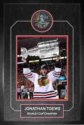 Jonathan Toews - Signed & Framed 2013 Stanley Cup Champions Puck - Featuring 8x10