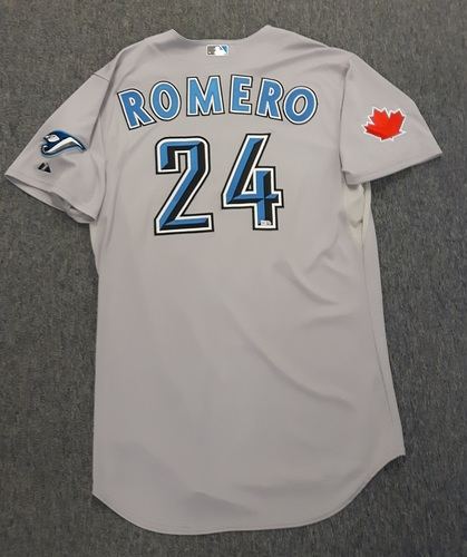 Photo of Authenticated Game Used Jersey - #24 Ricky Romero (August 2, 2010). Size 48.