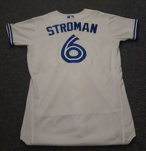 Photo of Authenticated Game Used Jersey - #6 Marcus Stroman (April 11, 2017 - Home Opener. May 8, 2017 - Winner for Edwin Encarnacion's Return Game (6 shutout innings with 1 K). August 28, 2017: 6 IP with 1 ER and 4 Ks). Size 42.