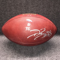 CRUCIAL CATCH  - BRONCOS DEVONTAE BOOKER SIGNED AND GAME USED FOOTBALL W/ CRUCIAL CATCH LOGO (OCTOBER 15, 2017) SMUDGED SIGNATURE