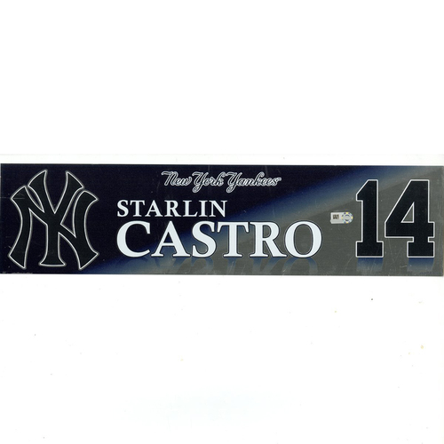 Photo of Starlin Castro New York Yankees 2017 Game-Used #14 Locker Room Nameplate (10/1/2017)