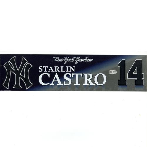 Photo of Starlin Castro New York Yankees 2017 Game-Used #14 Locker Room Nameplate (10/1/2017)