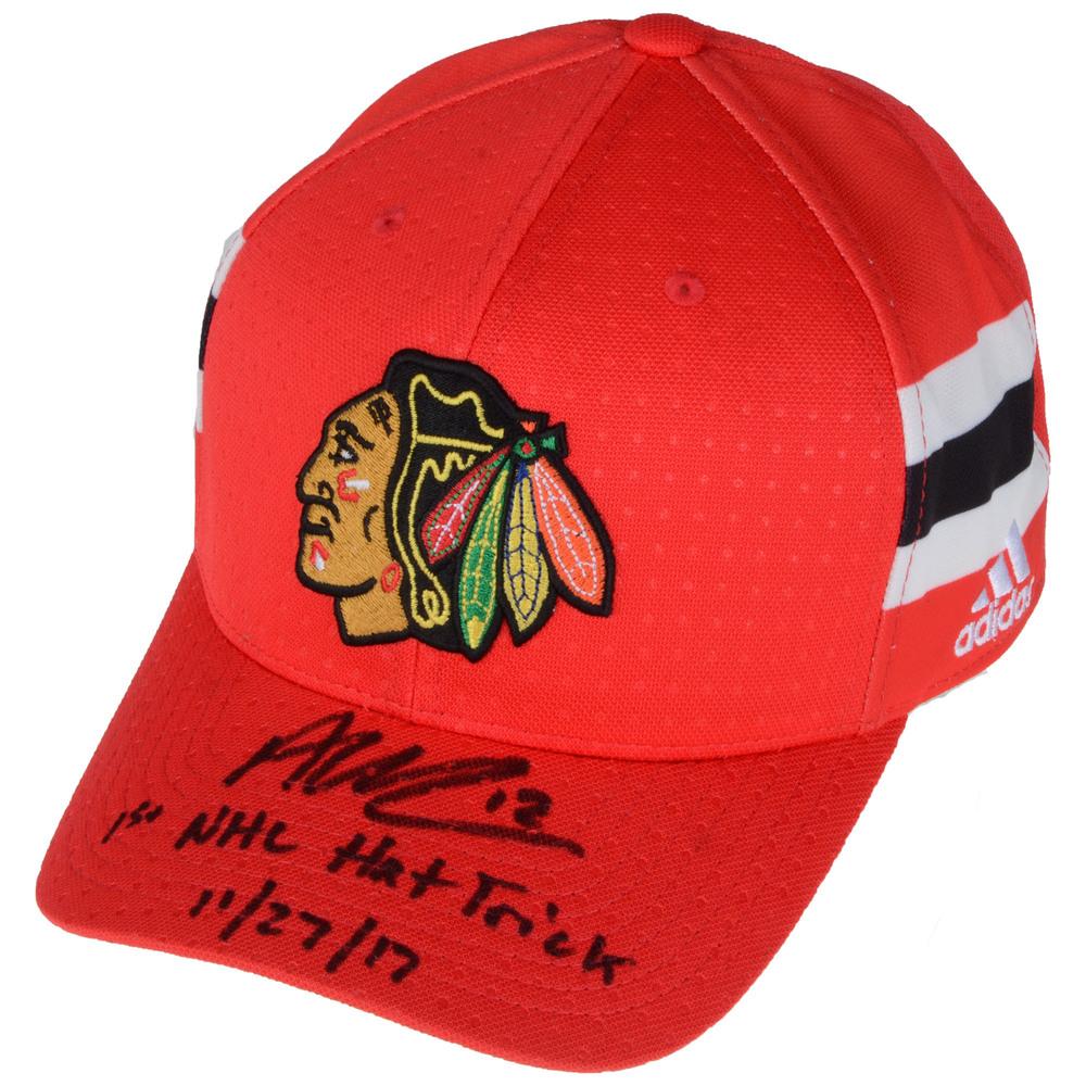 Alex DeBrincat Chicago Blackhawks Autographed Adidas Cap with 1st NHL Hat Trick 11/27/17 Inscription - #1 of a L.E. of 12