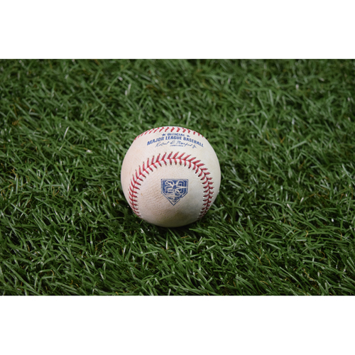 Photo of 20th Anniversary Game Used Baseball: J.D. Martinez single off Jacob Faria - May 22, 2018 vs BOS