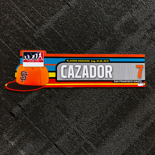 "Photo of San Francisco Giants - 2018 Player's Weekend Locker Tag - Gorkys ""Cazador"" Hernandez"