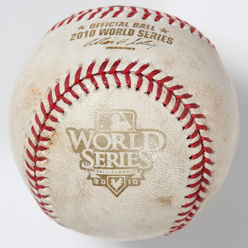 Photo of Game-Used Baseball: 2010 World Series Game 4 - San Francisco Giants at Texas Rangers - Batter: Ian Kinsler, Pitcher: Madison Bumgarner - Bottom of 2, Pitch in Dirt