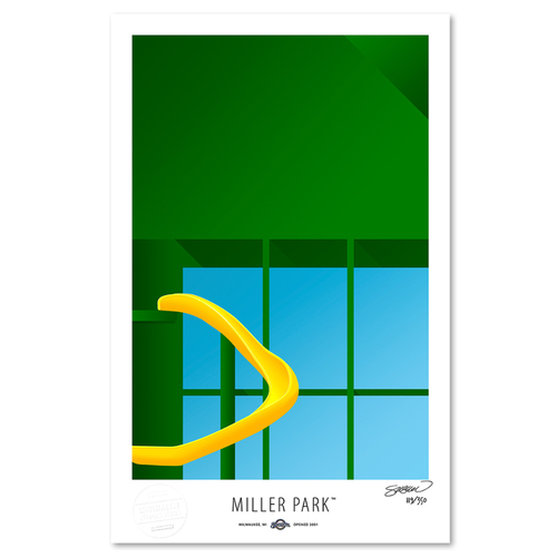 Photo of Miller Park - Collector's Edition Minimalist Art Print by S. Preston #119/350  - Milwaukee Brewers