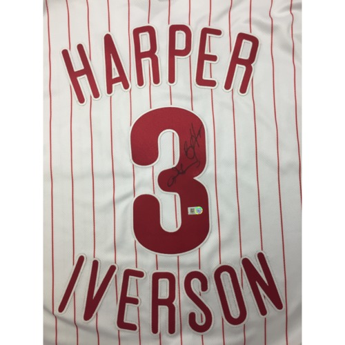 Autographed Bryce Harper and Allen Iverson Authentic Phillies ...