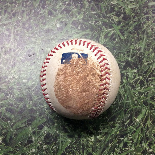 Photo of Game-Used Baseball NYM@MIL 05/04/19 - Gio Gonzalez - Pete Alonso: Foul (Miller Park Record - 18-Inning Game)
