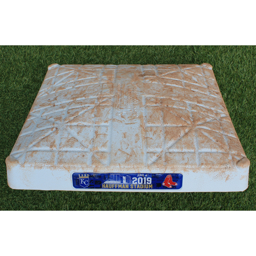 Photo of Game-Used 2nd Base: Mookie Betts 204th Career Double (Innings 6-9 - BOS @ KC - 6/4/19)