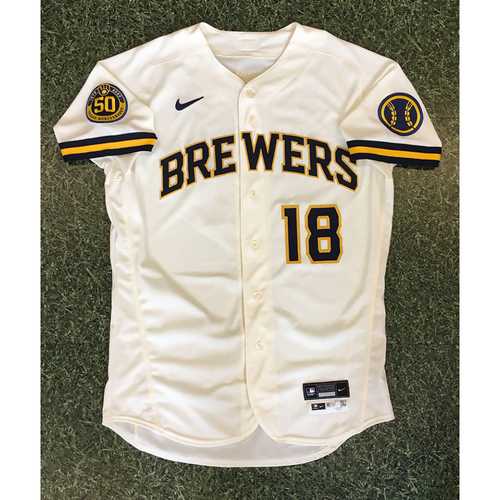 Photo of Keston Hiura 2020 Team-Issued Home Cream Jersey (Authenticated 09/02/20 - 1-5, 3-Run HR)