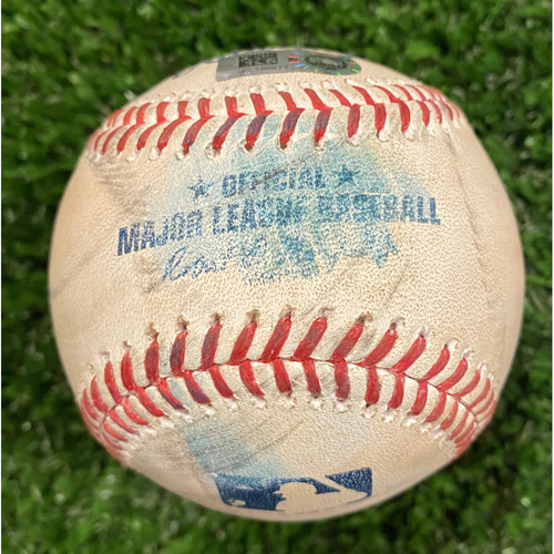 Photo of Game Used Baseball - Batter: Adam Duvall, Pitcher: Pablo Lopez, Foul - September 9, 2020 - Braves Break NL Record for Most Runs Scored in a Game with 29 Runs.