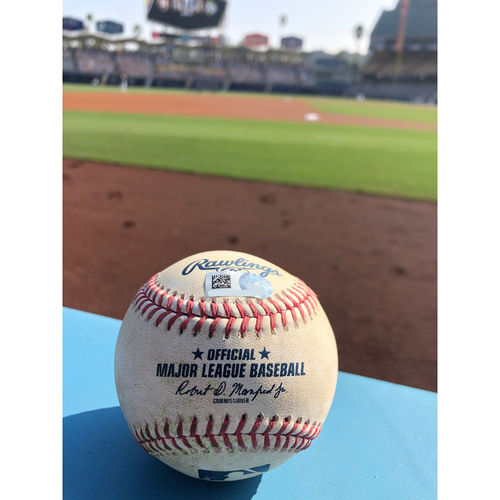 Photo of Game-Used Baseball: 2020 ALDS - Houston Astros vs. Oakland Athletics - Game 2 - Pitcher: Sean Manaea, Batter: Carlos Correa (RBI Ground Out, Michael Brantley scores) - Top 4