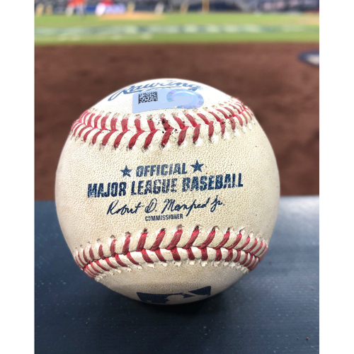 Photo of Game-Used Baseball - 2020 ALCS - Houston Astros vs. Tampa Bay Rays - Game 7 - Pitcher: Lance McCullers Jr., Batter: Austin Meadows (Strike Out) - Bot 1