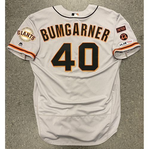 Photo of 2019 Team Issued Road Alt Gray Jersey - #40 Madison Bumgarner - Size 50
