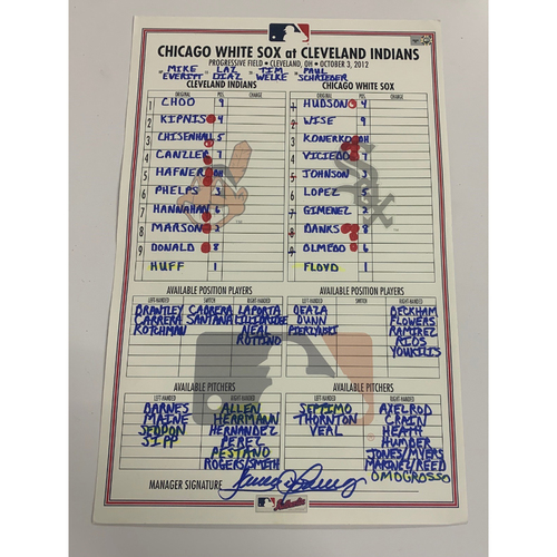 Photo of Game Used Line-up Card 10/03/2012 - CWS vs. CLE