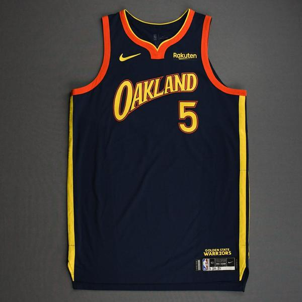 Image of Kevon Looney - Golden State Warriors - Game-Worn City Edition Jersey - 2020-21 NBA Season