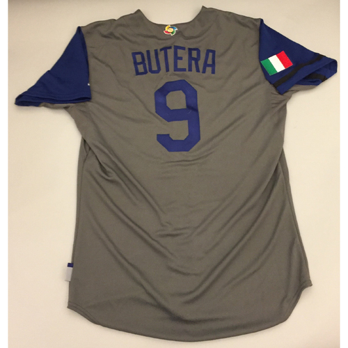 2017 WBC: Italy Game-Used Road Jersey, Butera #9