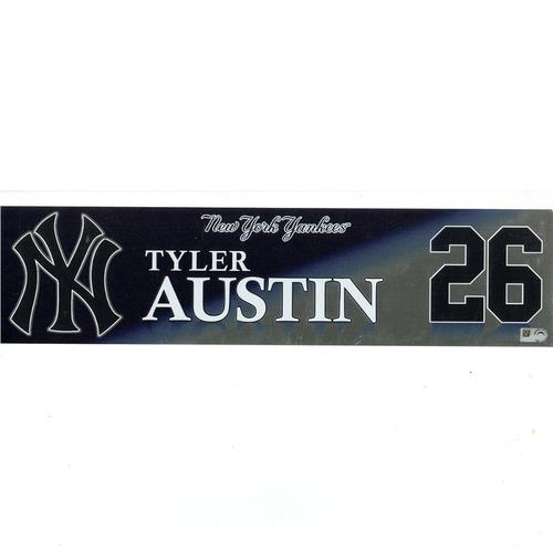 Photo of Tyler Austin New York Yankees 2017 Game-Used #26 Locker Room Nameplate (9/30/2017)