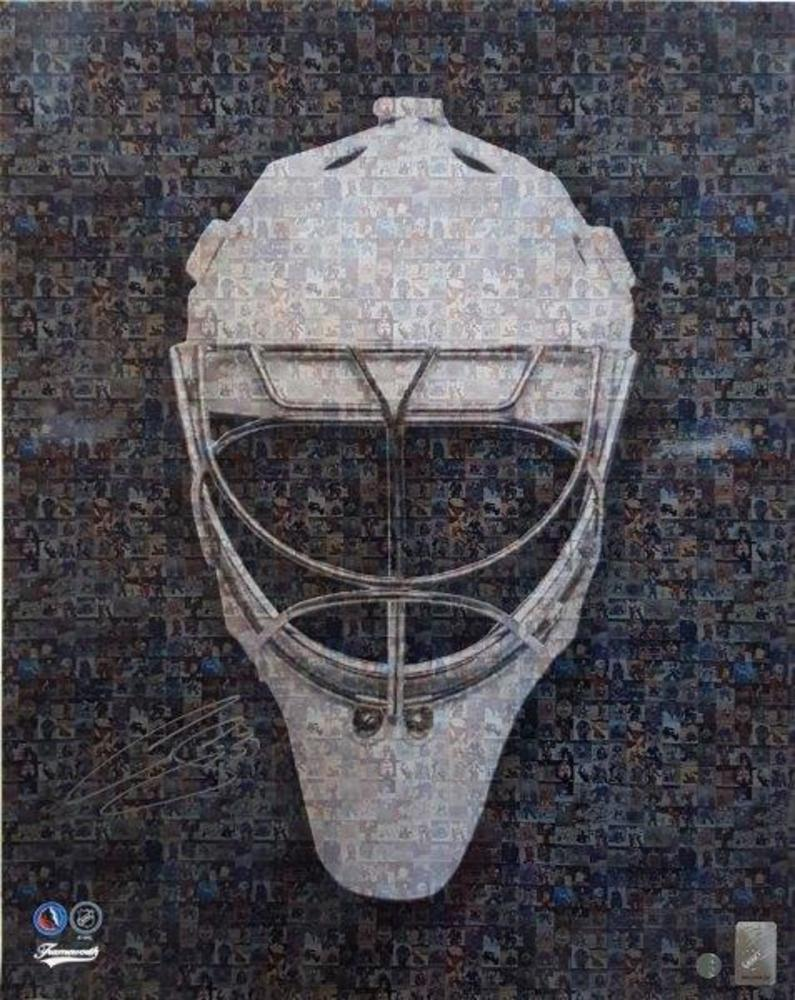 Curtis Joseph Signed 16x20 Unframed Goalie Mask Mosaic-V