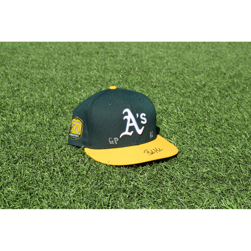 Photo of Oakland Athletics Game Used Autographed Bob Melvin 50th Anniversary Cap