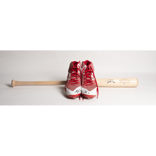 Photo of Autographed Andrew Stevenson Bat and Cleats - Winning Bidder Can Pick Up Items Directly From Andrew on September 24, 2018