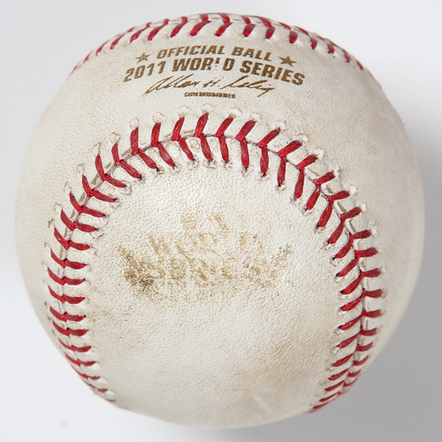 Photo of Game-Used Baseball: 2011 World Series Game 5 - St. Louis Cardinals at Texas Rangers - Batter: Yadier Molina, Pitcher: CJ Wilson - Top of 2, Foul Ball
