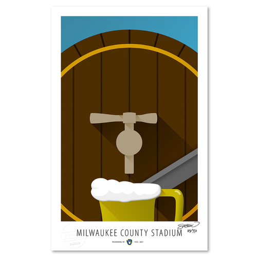 Photo of County Stadium - Collector's Edition Minimalist Art Print by S. Preston #119/350  - Milwaukee Brewers