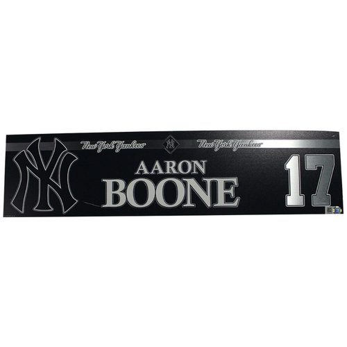 Photo of Aaron Boone New York Yankees 2018 Game Used #18 Locker Room Nameplate (9/20/2018)