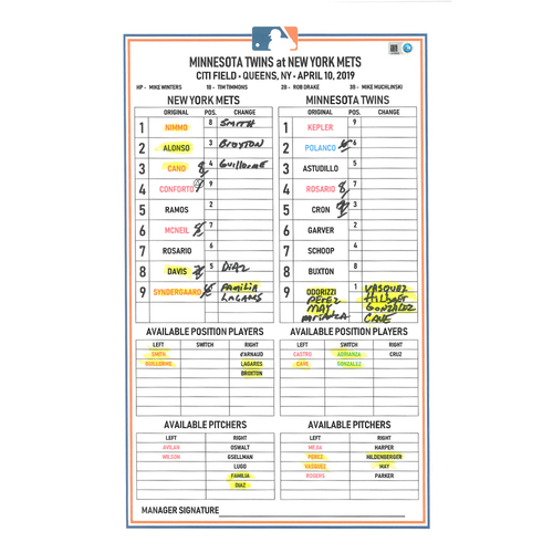 Photo of Game Used Lineup Card - Syndergaard Start, 7 IP, 4 ER, 7 K's, Earns 1st Win of 2019; Conforto 1-3 with 3 RBI's, McNeil 2-4 with 1 RBI; Mets Win 9-6 - Mets vs. Twins - 4/10/19