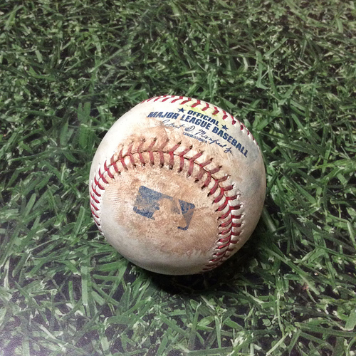 Photo of Game-Used Baseball CIN@MIL 05/22/19 - Zach Davies - Nick Senzel: Strike (First Pitch of Game)