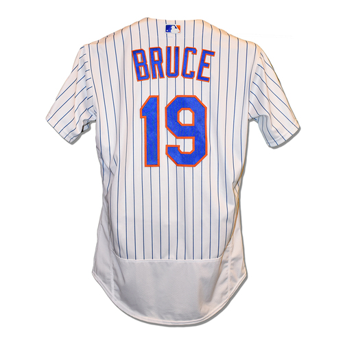 Photo of Jay Bruce #19 - Game Used White Pinstripe Jersey - Mets vs. Marlins - 9/29/2018