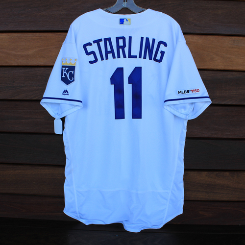 Photo of Game-Used Jersey: Bubba Starling 14th Career Hit (Size 48 - CLE @ KC - 7/27/19)