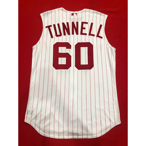 Photo of Lee Tunnell -- Game-Used 1995 Throwback Jersey & Pants -- D-backs vs. Reds on Sept. 8, 2019 -- Jersey Size 46 / Pants Size 35-40-31