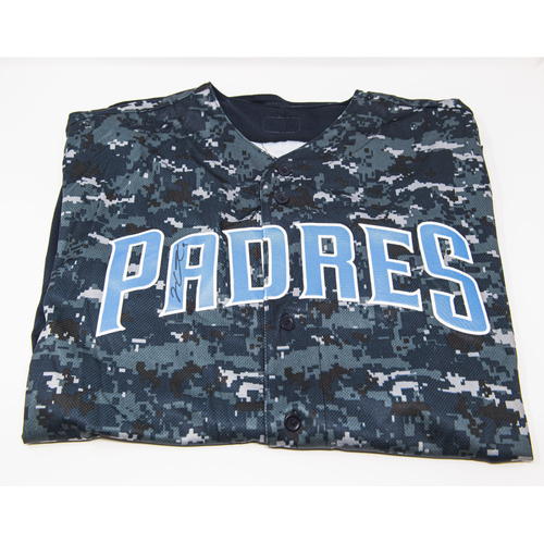 Photo of Jake Cronenworth Autographed Blue Camo Jersey - NOT MLB Authenticated - Padres Certificate of Authenticity Included