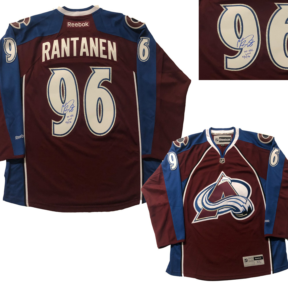 MIKKO RANTANEN Signed Colorado Avalanche Burgundy Reebok Jersey - 1st NHL GOAL Inscription