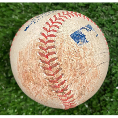 Photo of Game Used Baseball - Batter: Marcell Ozuna, Pitcher: Pablo Lopez, Foul - September 9, 2020 - Braves Break NL Record for Most Runs Scored in a Game with 29 Runs.