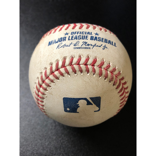 Photo of Game-Used Baseball - 2020 NLCS - Atlanta Braves vs. Los Angeles Dodgers - Game 7 - Pitcher: Dustin May, Batter: Freddie Freeman (Ball, Acuna Jr. Steals 2nd Base) - Top 1